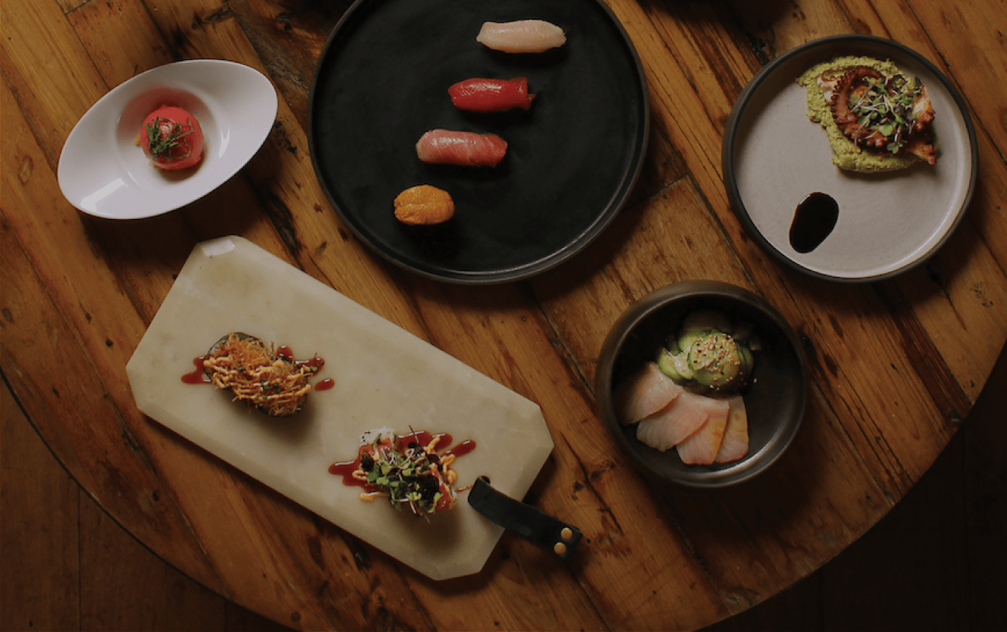Sushi dishes on a table